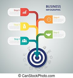 Business target marketing dart idea. Infographics vector...