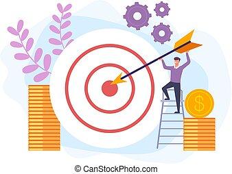 Business target success concept. Vector flat cartoon graphic design banner poster illustration