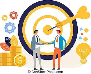 Business targeting deal concept. Vector flat graphic design illustration