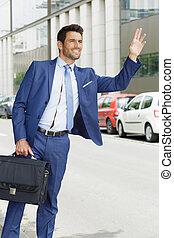 business, taxi, grêler, habit, homme