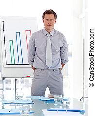 Business teacher standing before class