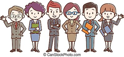 Business team. A group of people dressed in strict suit.