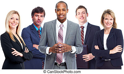 Business team. - African-American Businessman and group of...