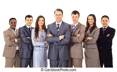 Business team and a leader - Mature business man with his colleagues in the white background