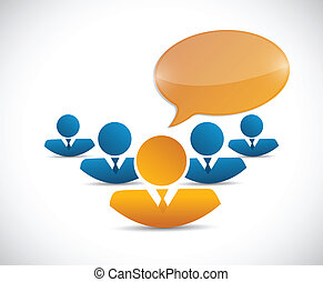 business team and message bubble illustration