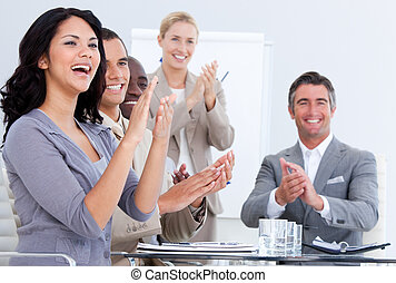 Business team applause in the meeting office