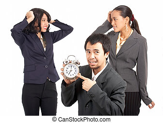 business team are stressed for the upcoming deadline