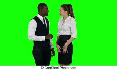 Business team arguing. Green screen