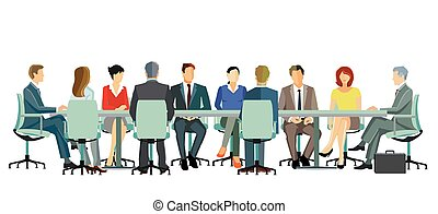 Business team at a business meeting - illustration