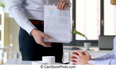 business team at office meeting or presentation - business,...