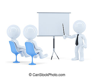 Business team at presentation. Isolated. Contains clipping path of scene and presentation board. 3d Illustration