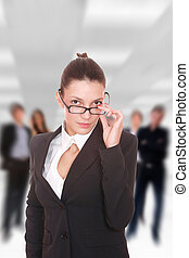 Business team at the office - Businesswoman with glasses in...