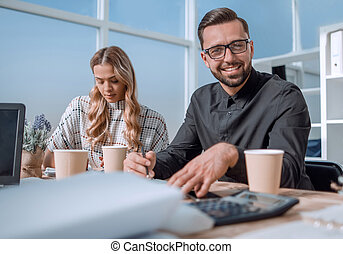 business team at the workplace in the office