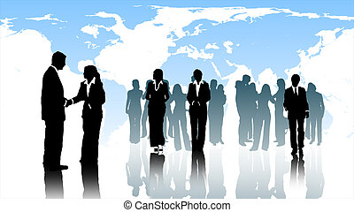 Business Team at work - Business teamworking together and...