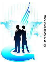 Business team background with world map