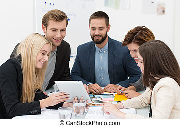Business team brainstorming - Business team of dedicated...