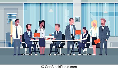 Business Team Brainstorming Meeting, Group Of Businesspeople Sitting Together In Office Discussing New Ideas Creative Process