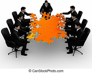 Business team building a puzzle isolated