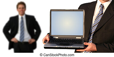 Business team - Business man holding up his laptop