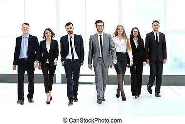 business team, businesspeople group walking