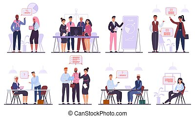 Business team characters. Teamwork business meeting and brainstorming, professional office people conference isolated vector illustration set