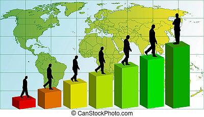 Business team chart earning. Vector