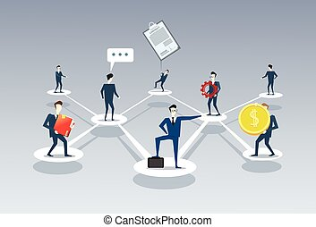 Business Team Company Management Organisation Chart Businesspeople Group People Teamwork Connection Concept
