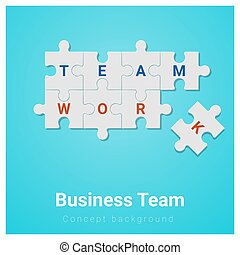 Business team concept background with jigsaw puzzle