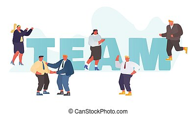 Business Team Concept. Businesspeople Working Together, Celebrate Corporate Success, Communicating, Meeting and Shaking Hands in Office Poster Banner Flyer Brochure. Cartoon Flat Vector Illustration
