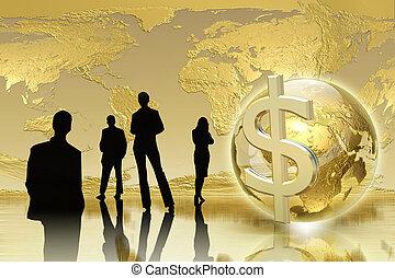 Business team concept - Golden Background