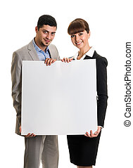 Business team couple holding blank