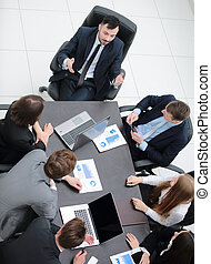 business team discussing in office financial issues