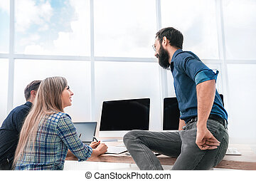 business team discussing news in the workplace
