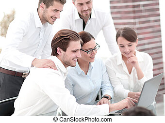 business team discussing online news