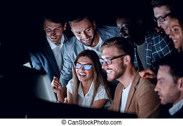 business team discussing stock news