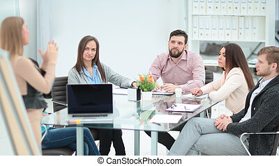 business team discussing the presentation of a new business project