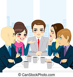 Business Team Discussing - Small business team discussing...