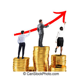 Business team draws growing arrow of company statistics over the piles of money
