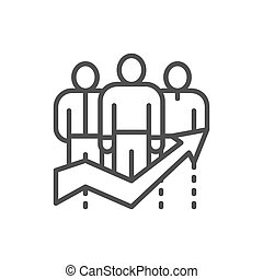 Business team efficiency, company workers with big arrow line icon.