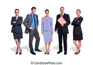 Business team five people isolated - Photo of a five person...
