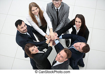 business team formed into a circle