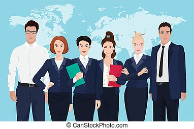 Business team formed of young businessmen standing over on world map background.