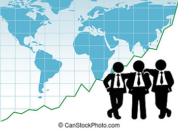 Business team global win success graph map