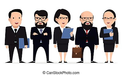 business team - group businessman character.
