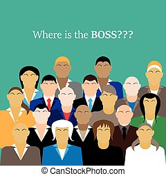 business team. group of office workers. Where is the BOSS