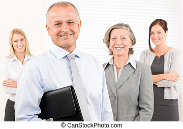 Business team happy mature man with colleagues