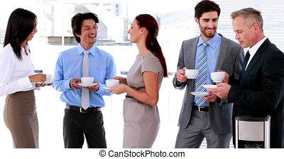 Business team having coffee