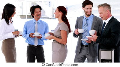 Business team having coffee
