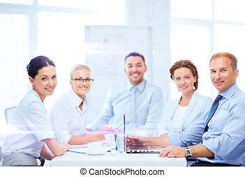 business team having meeting in office - business and office...