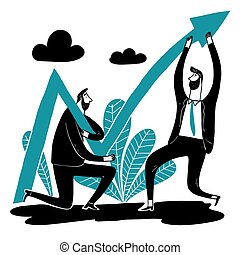 Business team help lift the arrow of the stock .